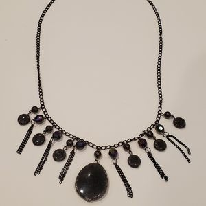 Black smooth stone necklace